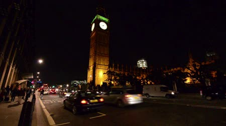big ben : London Westminster Night Traffic Stock Footage