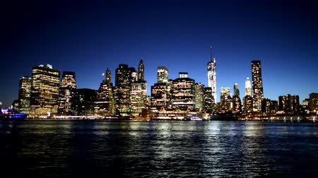 urban skyline : NYC Manhattan skyline night