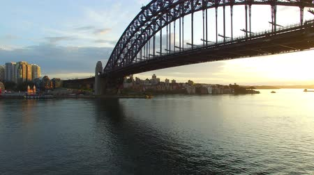tower bridge : Sydney Harbour Bridge in Sydney, aerial view Stock Footage