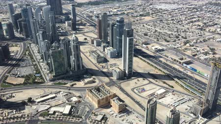 эмираты : Dubai Downtown Aerial View With City Traffic Стоковые видеозаписи