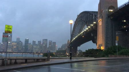 kirribilli : Sydney Harbour, rainy night view from Kirribilli Stock Footage