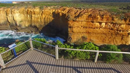 campbell : Aerial view of Great Ocean Road coastline from Razorback viewpoint Stock Footage