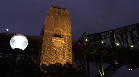 kirribilli : Sydney Harbour Bridge at night upward view Stock Footage