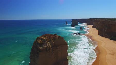 campbell : Twelve Apostles Afternoon Rocks and Waves Stock Footage