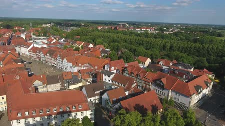 half timbered : Panoramic aerial view of medieval buildings Celle, Germany.