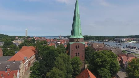 lubeck : Aerial view of Travemunde and its old medieval buildings. Stock Footage