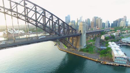Aerial view of Sydney Harbour bridge at sunrise