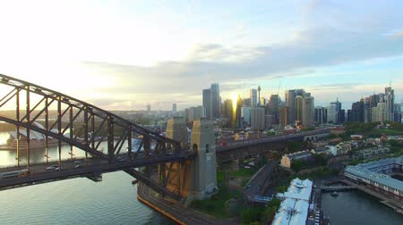 kirribilli : Sydney skyline from the air at dawn Stock Footage