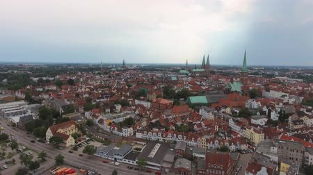 lubeck : Lubeck homes from the air, Germany