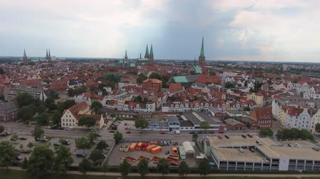 lubeck : Lubeck, Germany. Beautiful city aerial view