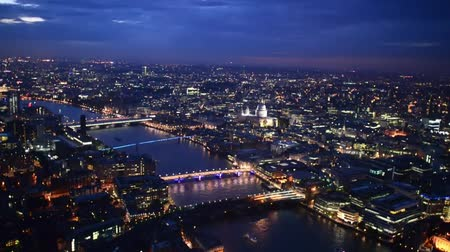 night scene : London Night Aerial view of city and river
