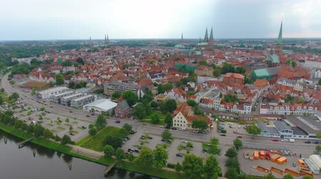 lubeck : Lubeck panoramic aerial view, Germany