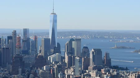 new world : Downtown Manhattan aerial view, New York City Stock Footage