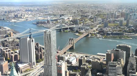 new world : Downtown Manhattan and Brooklyn aerial view, New York City Stock Footage