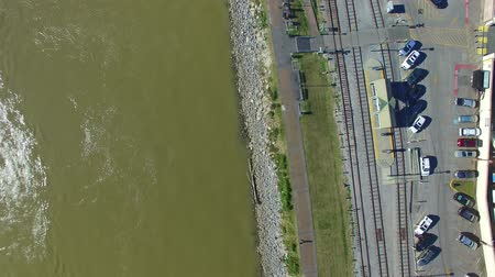 New Orleans, overhead view of homes and rail tracks