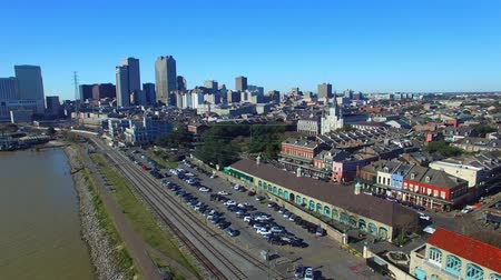 Panoramische luchtfoto New Orleans, Louisiana Stockvideo