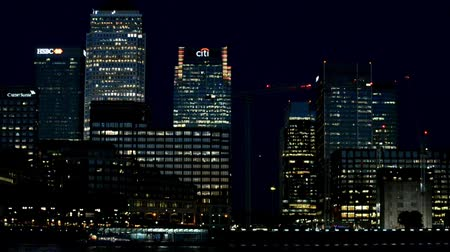 LONDON - SEPTEMBER 2016: Canary Wharf buildings at night. Canary Wharf is the city business district