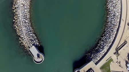 Sea boat entering port, aerial view overhead Stok Video