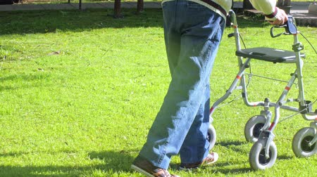 инвалидность : Elder man moving with walker on the garden, sun light coming from back