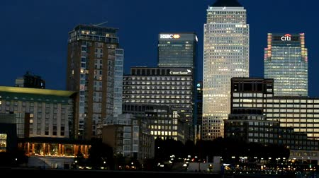 docklands : LONDON - SEPTEMBER 2016: Canary Wharf buildings at night. Canary Wharf is the city business district