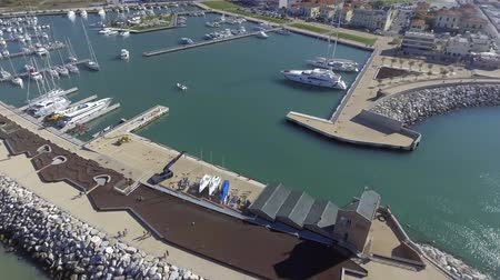 Port of Pisa, aerial view Stok Video