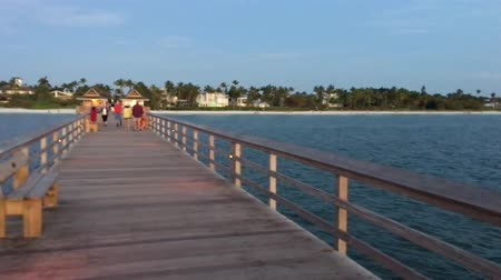 nápoles : FORT MYERS, FL - FEBRUARY 2016: City pier at sunset with people walking. Fort Myers is a famous destination Florida Vídeos