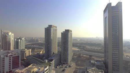 birleşik arap emirlikleri : DUBAI - DECEMBER 2016: Aerial panoramic view of Dubai Marina buildings. Dubai attracts 15 million people annually Stok Video