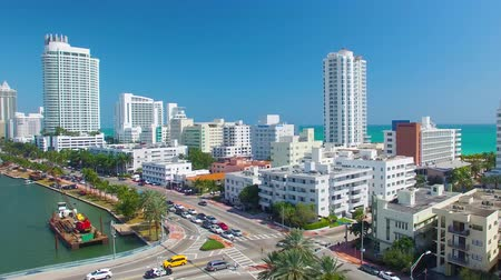 ranvej : MIAMI, FL - FEBRUARY 2016: Aerial view of Miami Beach buildings along the river. Miami attracts 15 million tourists annually