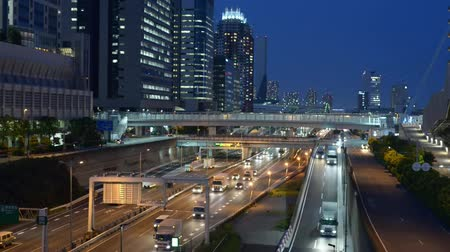 řídit : Tokyo, Japan. Odaiba night traffic in Wangan Expressway Dostupné videozáznamy