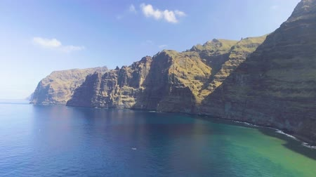 alpes : Los Gigantes cliffs, aerial view of Tenerife Stock Footage