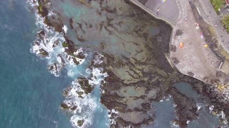 havai : Overhead view of rocks along the coast Stok Video