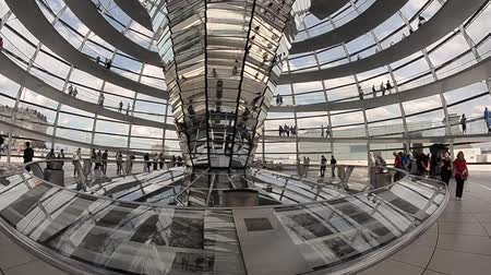 moderno : BERLIN - JUNE 2013: People inside Bundestag dome. Berlin attracts 10 million people annually Stock Footage