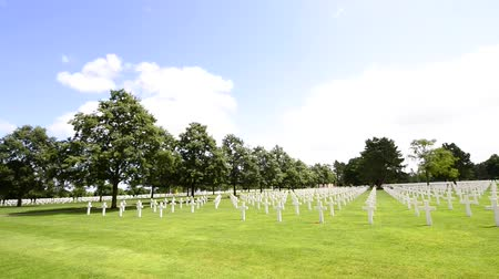 d day : American War Cemetery in Normandy, France Stock Footage