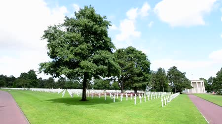 gravestone : American War Cemetery in Normandy, France Stock Footage