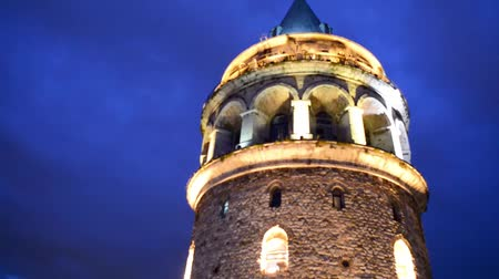 isztambul : Istanbul - Galata Tower at night Stock mozgókép