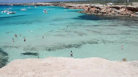 szicília : FORMENTERA, SPAIN - JUNE 2015: Island beach aerial view in summer season. Formentera is a famous destination in Europe