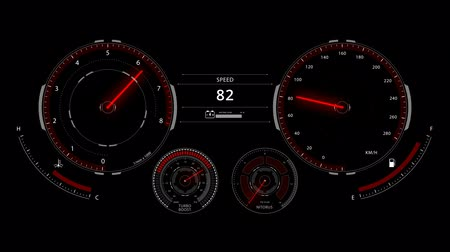 Digital optitron speedometer of car driving with acceleration, dashboard Vídeos