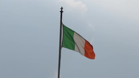 Republic of Ireland flag flapping in the wind