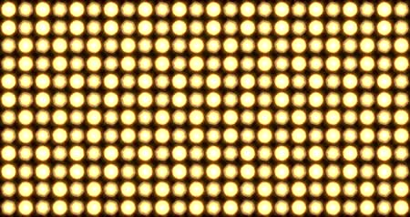 Yellow Stage LED Floodlights Matrix Panel Lights Visual on a black Background, Animated in a Full Screen Pulsating Flashing Motion. Wideo