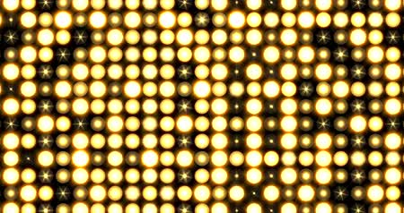 složený : Yellow Nightclub Stage Backdrop LED Matrix Panel Lights Visual on a black Background, Animated in a Full Screen Twinkling motion.
