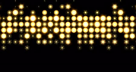 downwards : Yellow nightclub stage backdrop LED matrix panel lights spattered pattern visual on a black background, animated in a twinkling falling downwards and rising upwards motion.