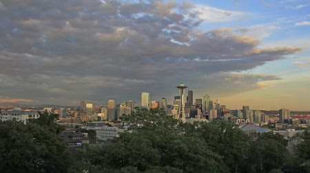 pacífico : Seattle Washington Cityscape with Clouds Timelapse at Sunset 1920x1080