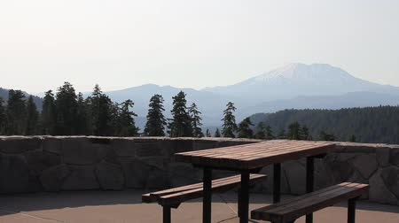 margarida : Scenic View of Majestic Mount St. Helens in Skamania County from McClellan Viewpoint with Picnic Table and Benches Panning 1920x1080