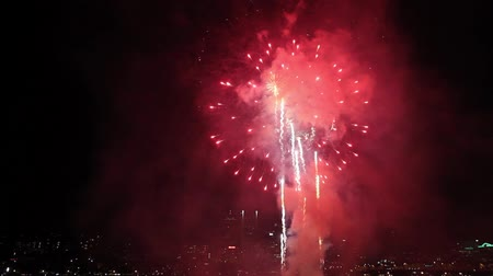 usa independence day : Fireworks along Willamette River Waterfront Downtown Portland Oregon on July 4th America Independence Day 1080p