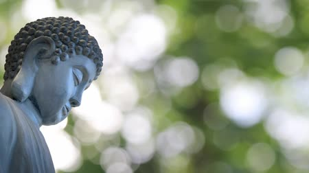 meditação : Bronze Buddha Sculpted Statue in Traditional Sitting Meditation Pose against Shimmering Green Out of Focus Bokeh Blurred Background 1080p Vídeos