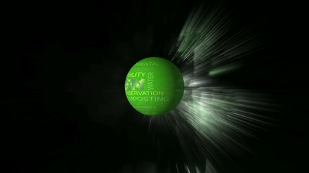 eko : Go Green Related Words Text Wrapped Globe Rotating in Outer Space on Green Sparkling Fireworks Background 1920x1080