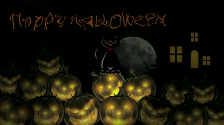 kotki : Happy Halloween Text with Stacks of Carved Pumpkins, Black Cat, Crosses,Spooky House and Moonrise 1080p Wideo