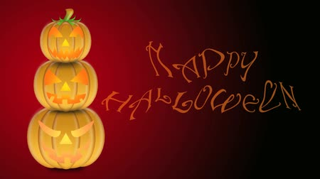 roliço : Flickering Candlelights in Stacked Carved Pumpkins with Happy Halloween Text on Red and Black Background 1920x1080