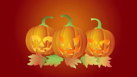 perili : Happy Halloween Twinkling Tealight Candle Lit Dancing and Jumping Carved Pumpkins with Autumn Leaves on Red Background 1080p