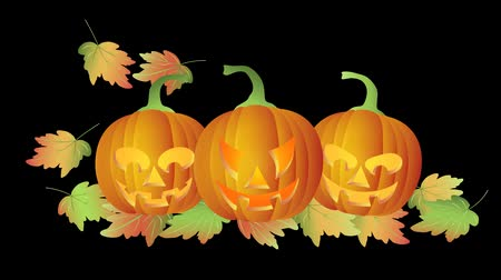 perili : Happy Halloween Twinkling Tealight Candle Lit Carved Pumpkins with Falling Autumn Leaves on Black Background 1080p
